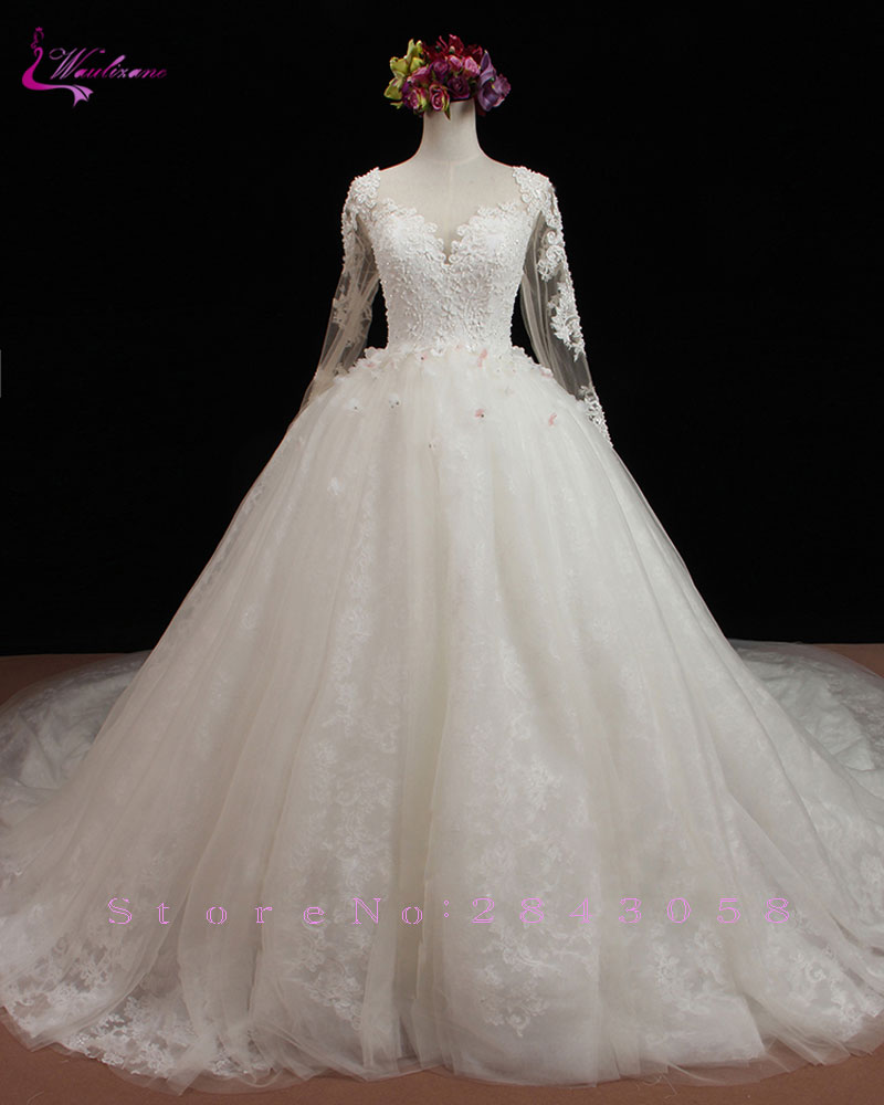 New Vintage Princess Ball Gown Wedding Dresses Beaded: Waulizane Luxury Long Train Full Sleeve Ball Gown Wedding