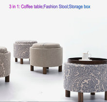 3 in 1 wood stool tea table circular storage bar table living room coffee table heigh quality level Free shipping
