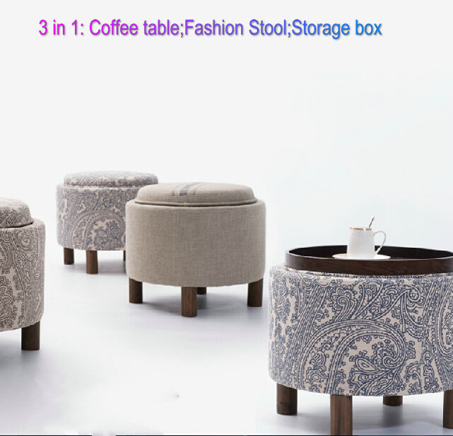 3 In 1 Wood Stool Tea Table Circular Storage Bar Table Living Room Coffee  Table Heigh ...