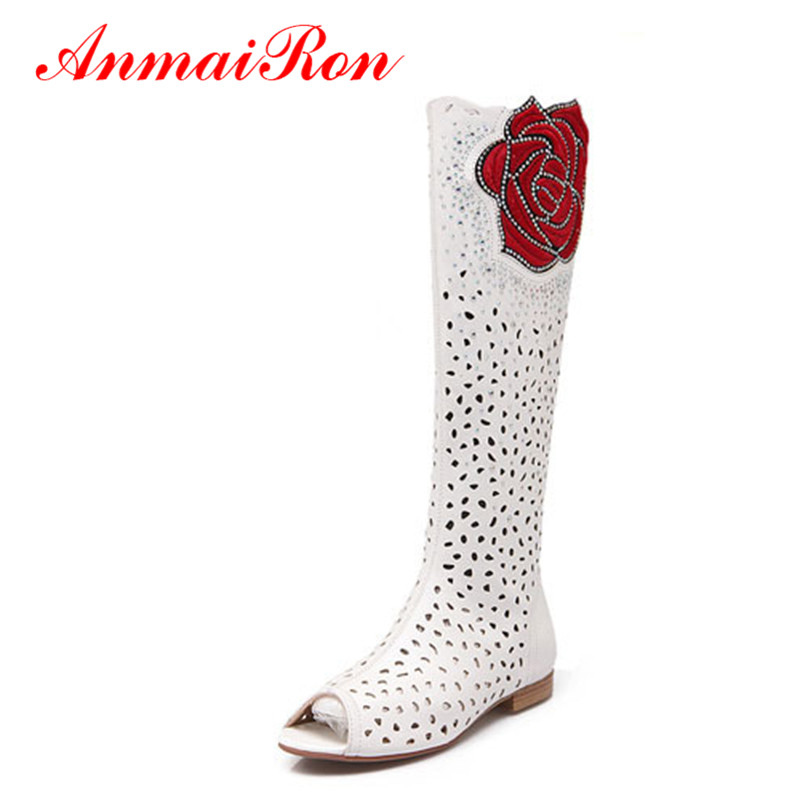 ANMAIRON Mid Calf Round Toe Flat Women Boots Flowers Cut Outs Summer Boots for Women Big Size 34 43 Black White Motorcycle Boots