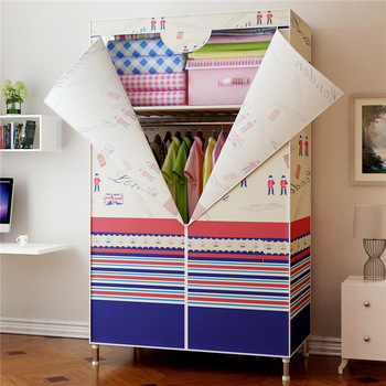Single Small Wardrobe Oxford Cloth Closet DIY Reinforcement 25MM Steel Pipe Cabinet Clothing Hanging Storage Closet