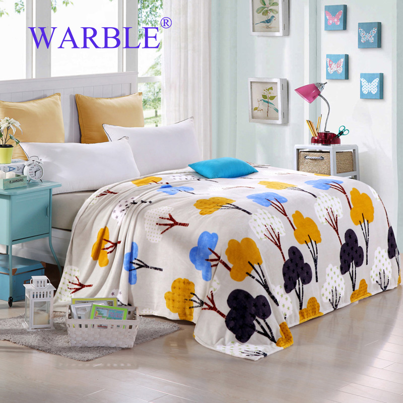 WARBLE Flannel Fleece Sofa Throw Blanket Plaid Soft Warm Polyester Printed  Couch Manta Plush Knitted Cobertor On The Bed Plaid