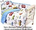 6/7 шт  Комплект постельного белья для малышей с мультяшным рисунком  пододеяльник  Комплект постельного белья из 100% хлопка для малышей  120*60/...