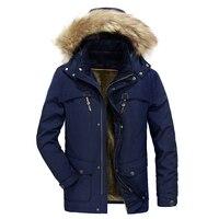 2018 Winter Jacket Men Detachable Hooded Parkas Men Fur Collar Thick Clothes Warm Coat Blue Green Khaki Winter Jacket Outwear