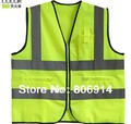 Free shipping fashion & top quality 3-pocket reflective safety vest light vest sanitation & traffic vest with zipper
