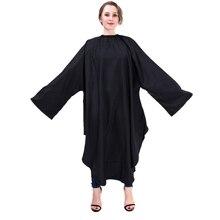 Profesional negro impermeable peluquería styling gown peluquería Cabo con manga unisex delantal de peluquería Cúter WRAP Herramientas