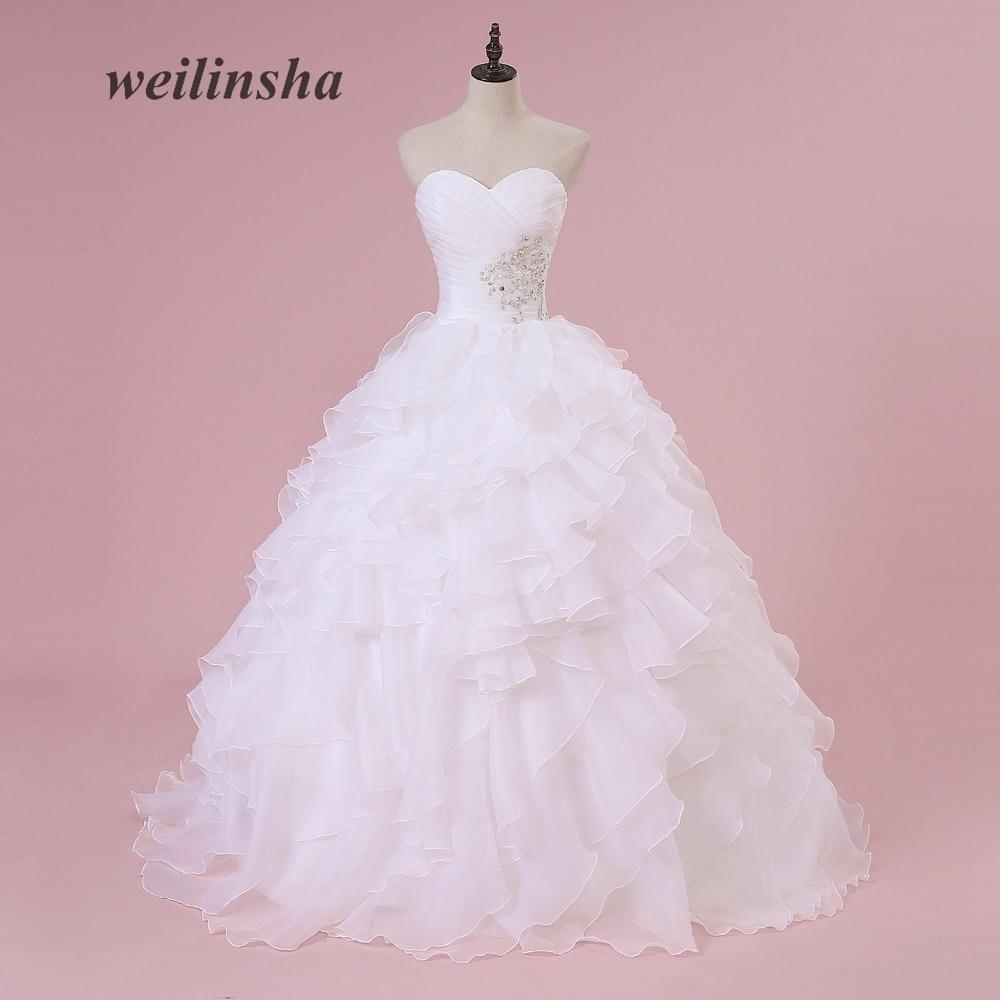 weilinsha Cheap Beach Princess Wedding Dresses 2018 Vintage Ruffles Sweep Train Vestido Longo Boho Elegant Ball