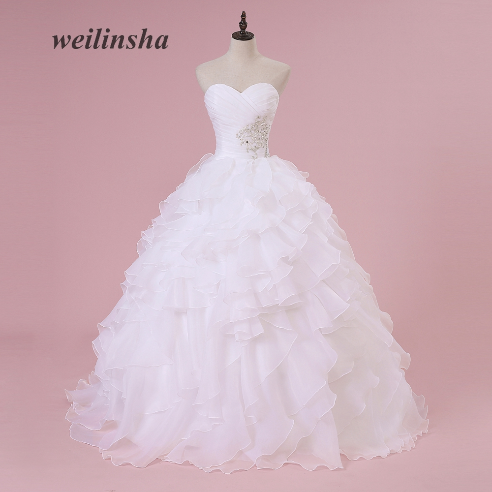 weilinsha Corset Stock Organza Wedding Dresses Ruffles Beaded Robe de Mariee Plus Size Ball Gown Romantic