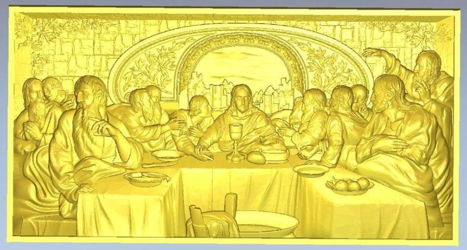 3d Model Relief  For Cnc In STL File Format Lord's Supper