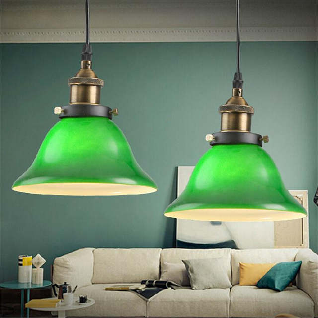 American Country Style Vintage Emerald Green Glass Pendant Light Loft Style Pendant Lights For Bar Cafe Hanging Lamp Lamparas