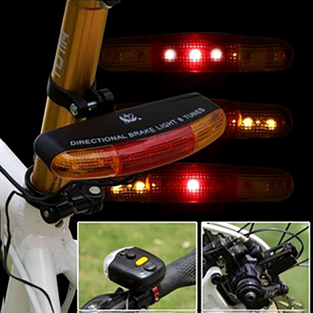 LED Bicycle Bike Turn Signal Directional Brake Light Lamp 8 Sound Horn