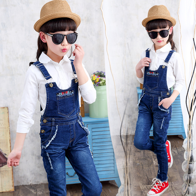 af05e4b84 Kids Denim Overalls for Girls Jeans Pants Autumn Children Jumpsuit ...