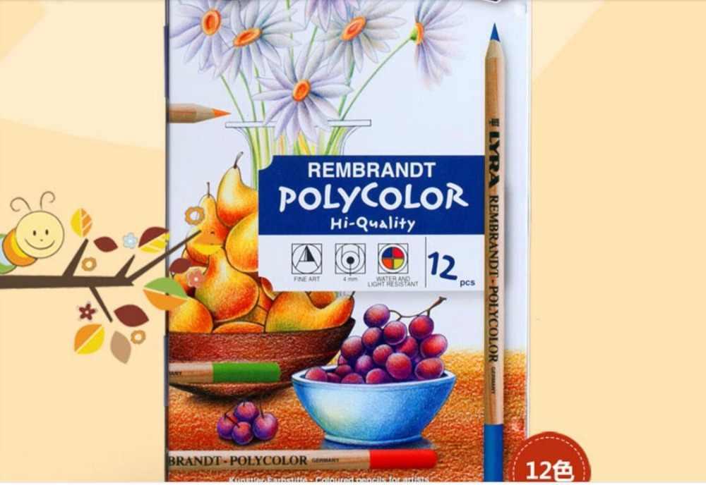 12/24/36/72 lápices de color aceitoso arte diseño pintado a mano caja de lata para LYRA juego de lápices de dibujo de color aceite Rembrandt