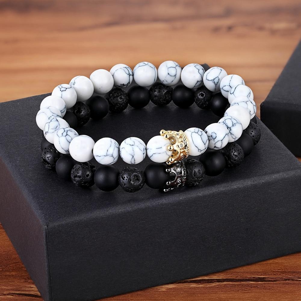 XQNI New Classic Interlocking Stitching Lava & Matte Onyx Stone with Crown Accessories Beads Bracelet Hand Jewelry For Women Men