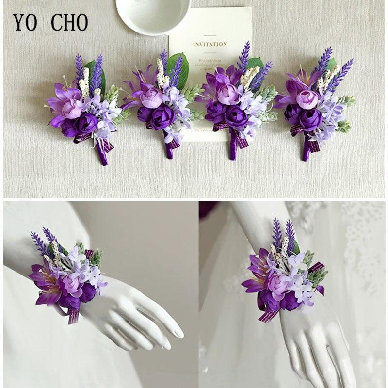 Corsage Flowers For Weddings: YO CHO Purple Prom Flower Corsage Bracelet Satin Rose