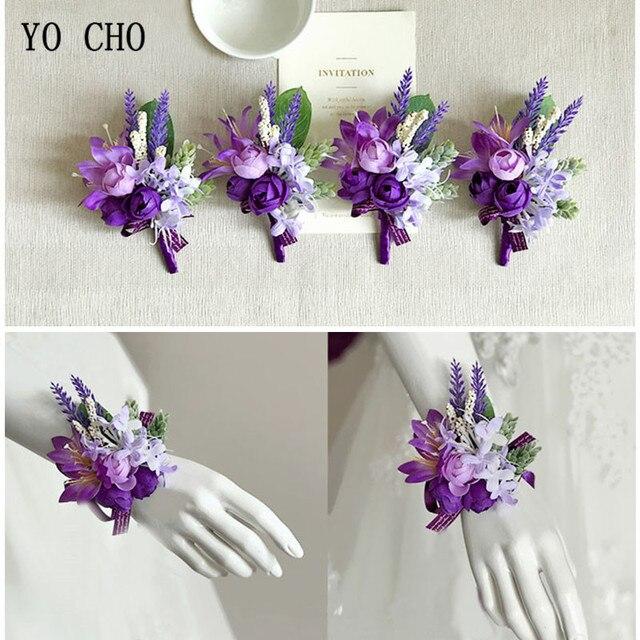 Yo Cho Purple Prom Flower Corsage Bracelet Satin Rose Wrist Corsage