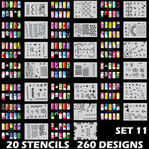 260 дизайнов, аэрограф для дизайна ногтей, трафарет, набор для рисования печать, инструмент для тиснения, пластины для маникюра, 20 листов/парт...