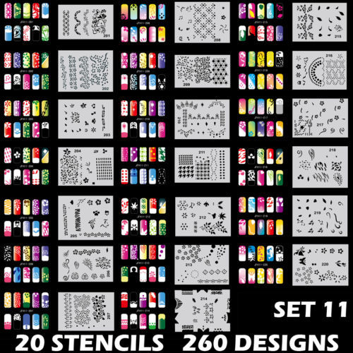 260 DESIGNS Airbrush Nail Art STENCIL Template Kit Paint