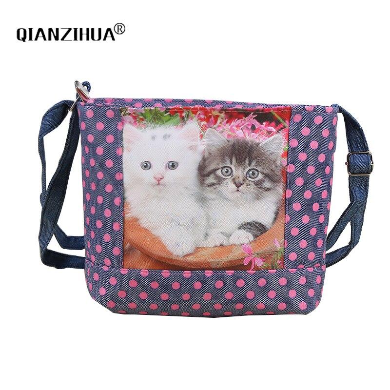 Cartoon Cat Printing Kids Children Bags Girl Canvas Shoulder Bags Clutch girls women Crossbody Bag Coin Purse Satchel Gift
