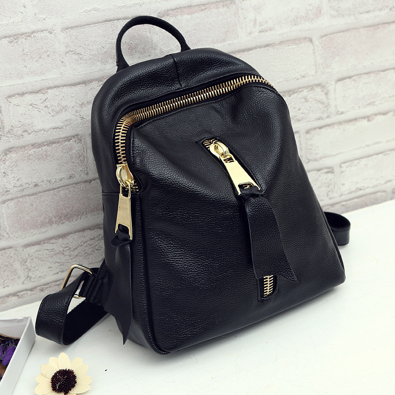 Trendy Women Genuine Leather Back Pack Black Bolsa Mochila Feminina Large bagpack schoolbag Travel Bag school Rucksack For Girl new women leather backpack black bolsas mochila feminina girl schoolbag travel bag solid candy color green pink beige