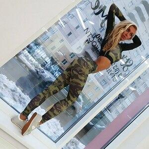 Image 5 - יוגה סט אישה ספורט כושר ספורט חליפת אימונית נשים הסוואה דחוס יוגה חותלות אימון בגדי כושר בגדים