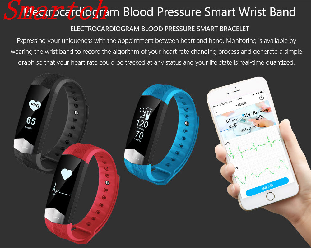 Smartch CD01 ECG Blood pressure HR Smart Band Bluetooth Sport Smart wristband Fitness tracker Smart Bracelet