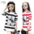 V-TREE Fashion t-shirts for girls striped long sleeve girls t shirt cotton girls tops cute girl tees teen children shirts 10 12