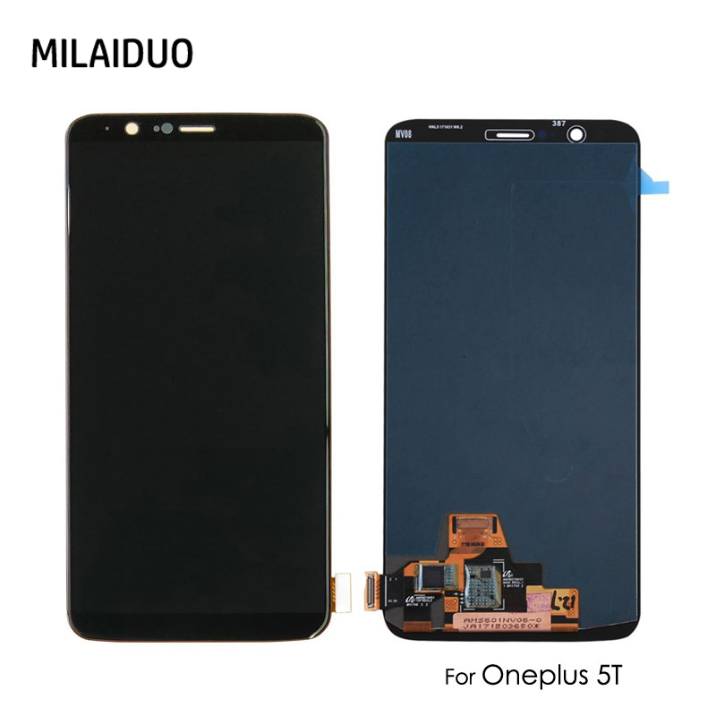 AMOLED LCD For OnePlus 5T Display For OnePlus A5010 Touch Screen Digitizer Assembly Replacement Repair Black No Frame