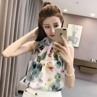 Sexy Sleeveless Strapless Summer Tops Floral Chiffon Shirt Plus Size Woman Clothing 2018 Fashion Korean New Casual Stand Blouses