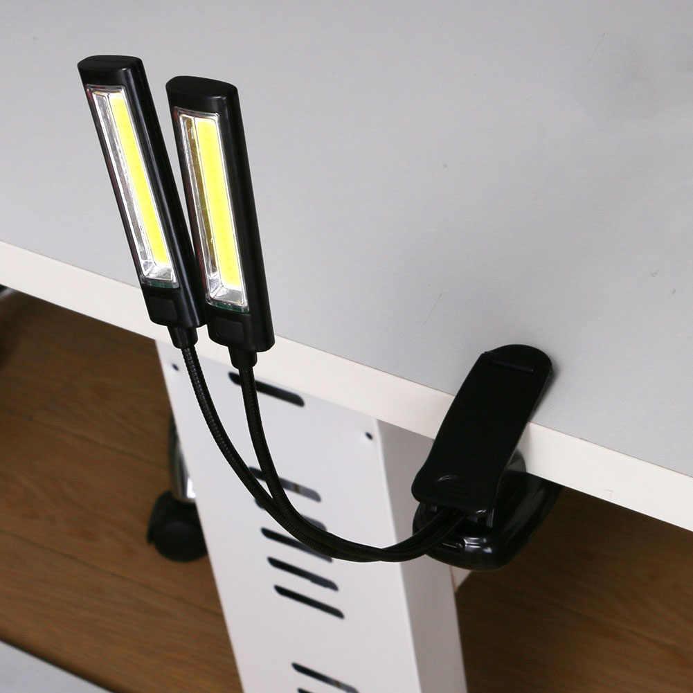 COB USB зажим для чтения книг светодиодный светильник с батареей Гибкая подставка для рук настольная лампа для ноутбука с одной головкой рабочее освещение для барбекю AAA
