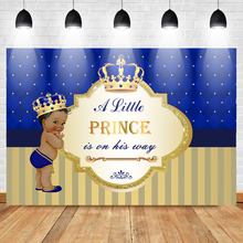 Mehofoto Photo Background Photophone A Little Prince is on His Way Dark Skin Boy Photo Background Gold Crown Blue Photo Backdrop dark prince