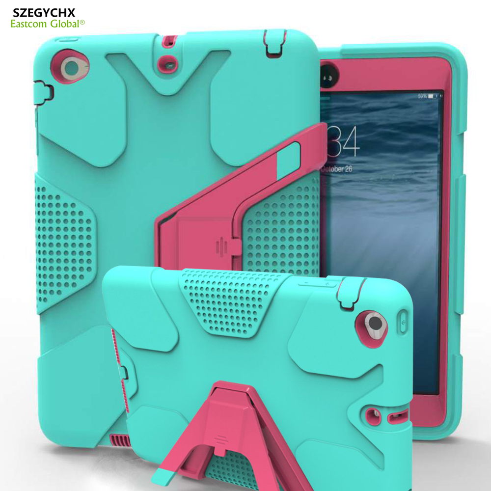 SZEGYCHX Tablet Case For iPad Mini 123 EVA Heavy Duty Shockproof Hybrid Rubber Rugged Hard Protective Skin Cover Case +Pen for amazon 2017 new kindle fire hd 8 armor shockproof hybrid heavy duty protective stand cover case for kindle fire hd8 2017