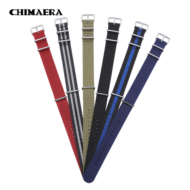 CHIMAERA 18mm 20mm 22mm Nylon Fabric Pin Buckle Muti Color Option Military divin