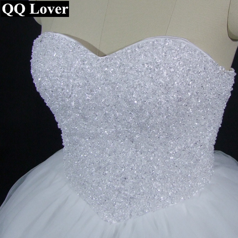 QQ Lover 2019 New Elegant Beaded Ball Gown Wedding Dress Custom-made Plus Size