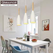 Qiseyuncai Nordic simple wooden restaurant chandelier creative bar personality single head bedroom corridor aisle lighting