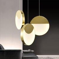2/3 Heads Nordic Art Golden Dining Room Led Pendant Light Modern Designer Restaurant Hanging Light Fixtures Free Shipping