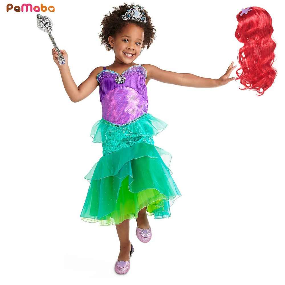 caa5ae379a PaMaBa Shining Girls Princess Ariel Dress Summer Clothes Kids ...