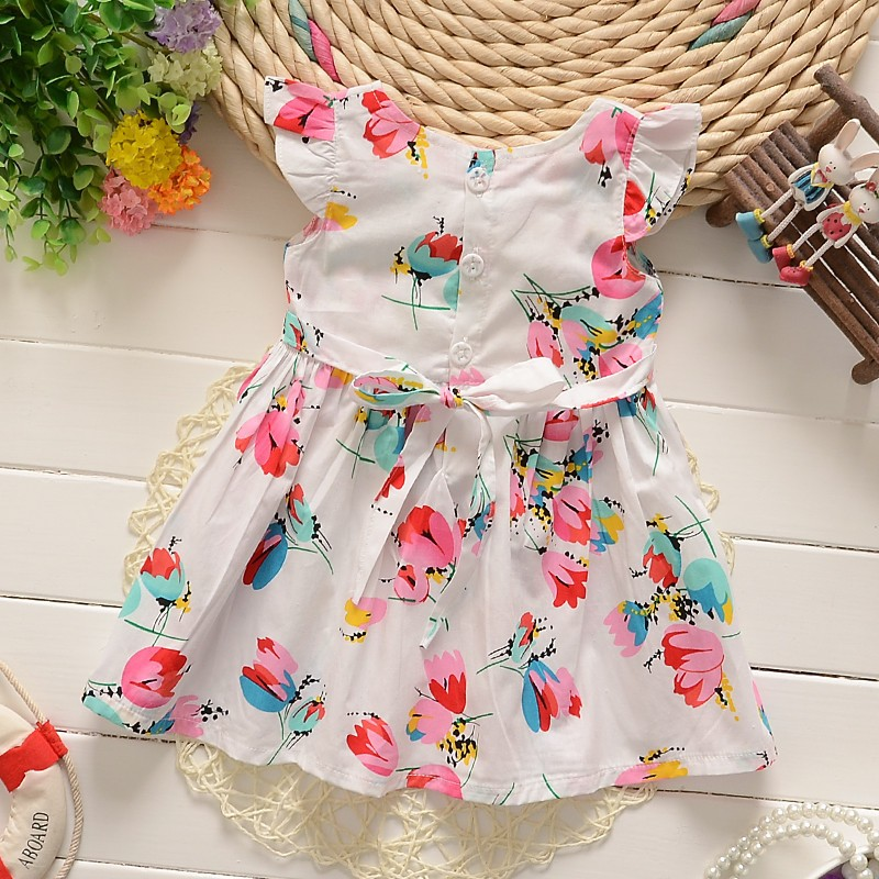 BibiCola Newborn Summer clothing 2017 New Infant girl dresses Floral Print Toddler Clothes Princess Birthday Dress for Girl 1
