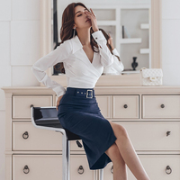 OL 2 Piece Outfits for Women Irregular White Shirt + Sexy Split Sheath Bodycon Skirt Wear To Work Business Suits Sets TS6212
