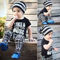 2017 new summer boys Girls Kid Black printing letter T-shirt + trousers set comfortable cute baby Clothes Children Clothing 5W