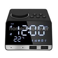 LED Mirror Alarm Clock Digital Snooze Table Clock Bluetooth Radio Clock Electronic Large Time Temperature Display UK Plug