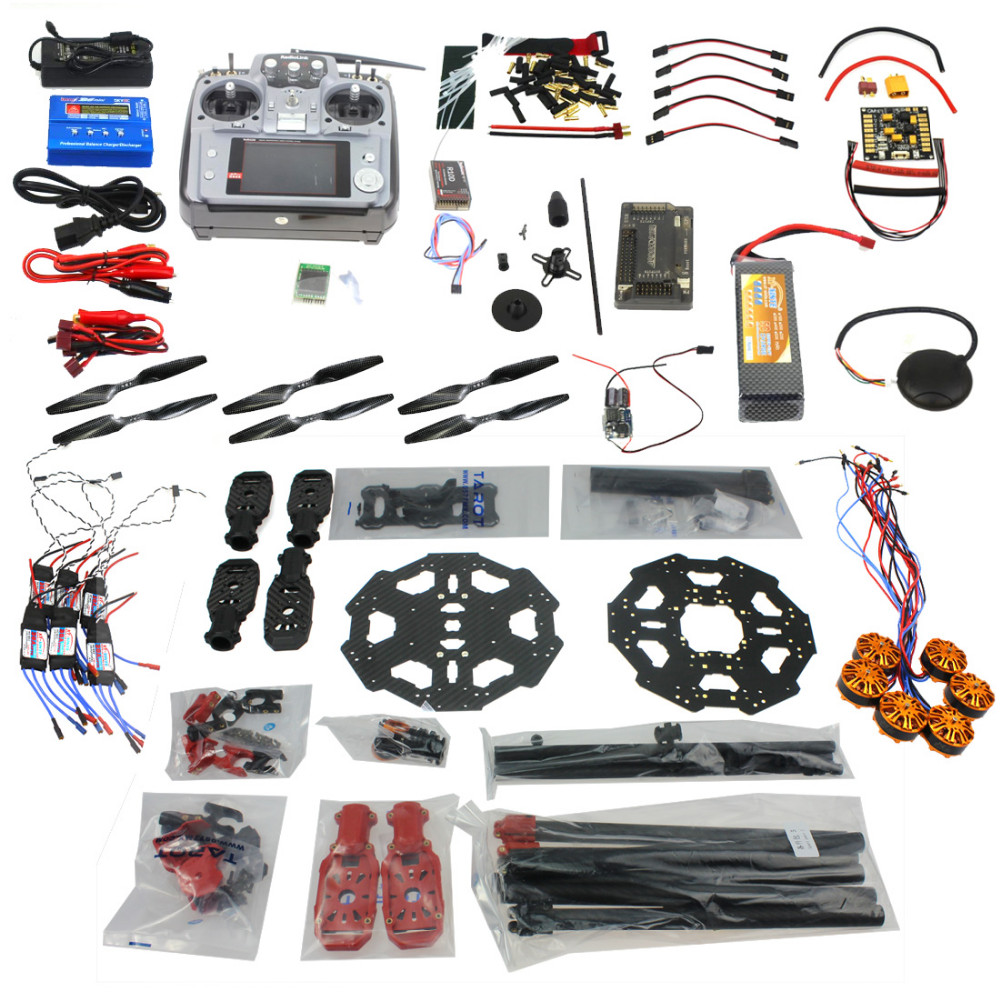 JMT DIY Full Set Helicopter Drone 6-axis Aircraft Kit Tarot 680PRO Frame 700KV Motor GPS APM 2.8 Flight Control AT10Transmitter tarot tl68b14 6 axis aircraft hexcopter fy680 fy650 inverted battery rack ship with tracking number
