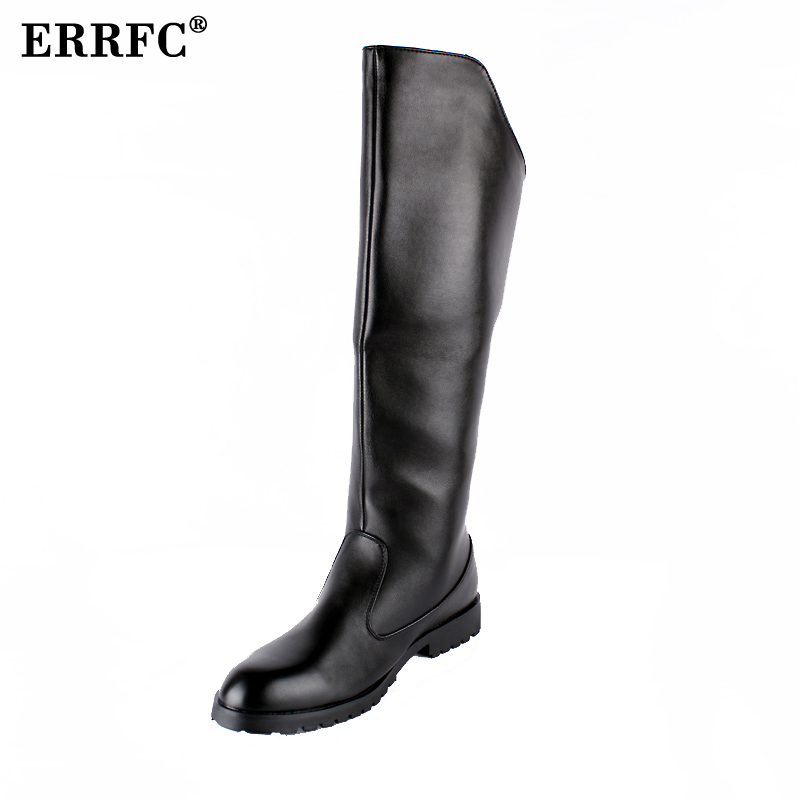 ERRFC Hot Selling Men Black Knee High Boot British Desiger Round Toe Back Zip Long Boot