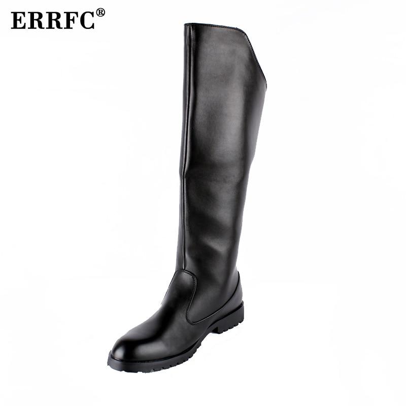 ERRFC Uomini di Vendita Caldi Nero Al Ginocchio Stivali Britannico Desiger Rotondo Toe Posteriore Con Zip Lungo Stivale Scarpe Uomo Moto Boot Size