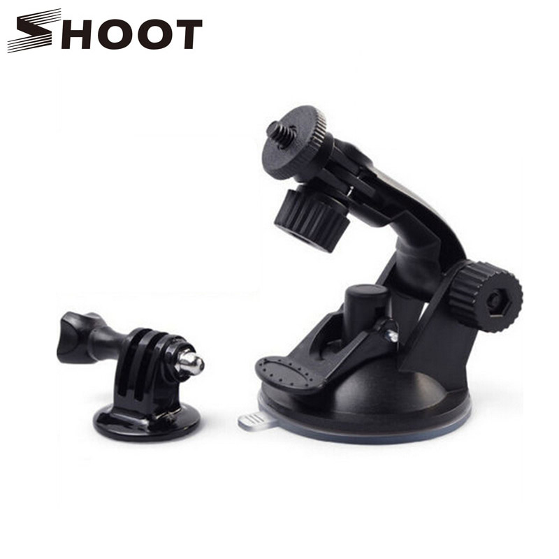 SHOOT 7cm Windshield Suction Cup Mount for Gopro Hero 5 4 3 SJCAM SJ4000 Xiaomi Yi 4K with Tripod Adapter Mount Go Pro Accessory gopro accessories head belt strap mount adjustable elastic for gopro hero 4 3 2 1 sjcam xiaomi yi camera vp202 free shipping