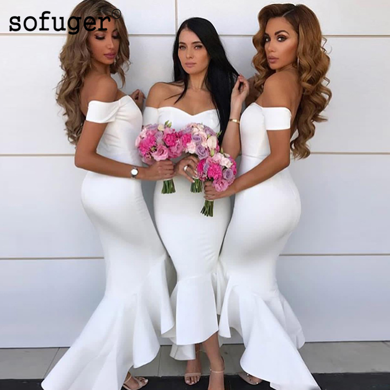 White Attractive Sweetheart Satin Special Occasion Off The Shoulder   Bridesmaid     Dresses   Formal Vestidos Wedding Party   Dresses