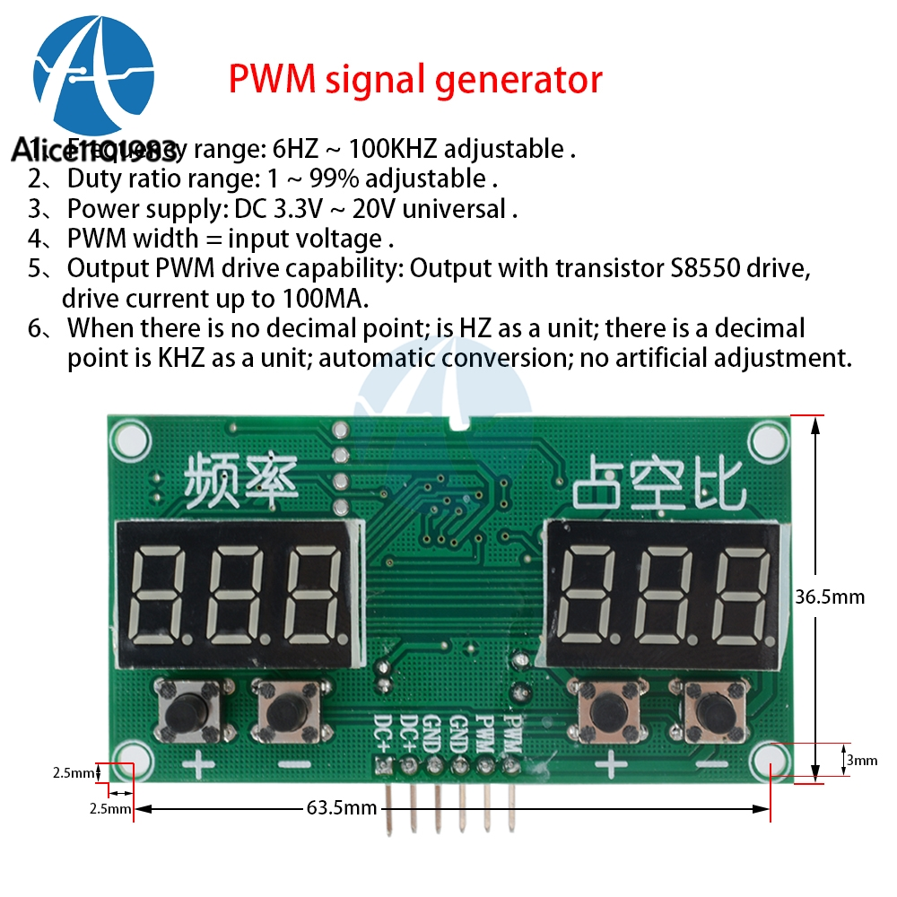 Tm1637 Pwm Pulse 0 99 Frequency Square Wave Signal Generator Duty Circuit With Variable Width 1pctm1637 6hz 100khz Cycle
