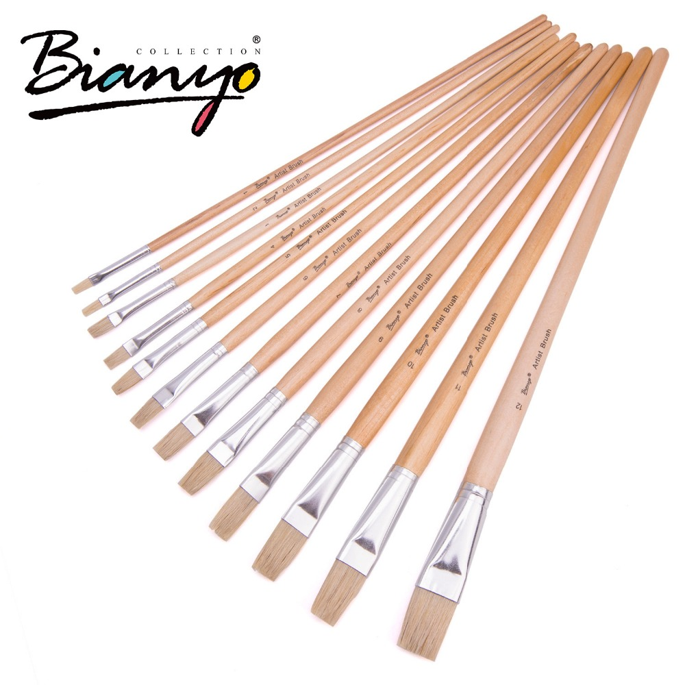 Bianyo 12Pcs Flat Head Bristle Hair Wood Handle Acrylic Paint Brush Oil Painting Brushes Set For Artist Drawing Painting