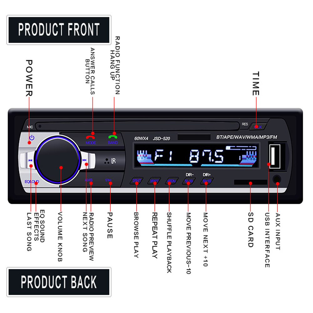Image 3 - Автомагнитола Hikity 12 В JSD 520, автомагнитола, Bluetooth 1 din, автомобильный стерео плеер, AUX IN, MP3, FM радио, пульт дистанционного управления для телефона, автомагнитола-in Радио для авто from Автомобили и мотоциклы on AliExpress - 11.11_Double 11_Singles' Day
