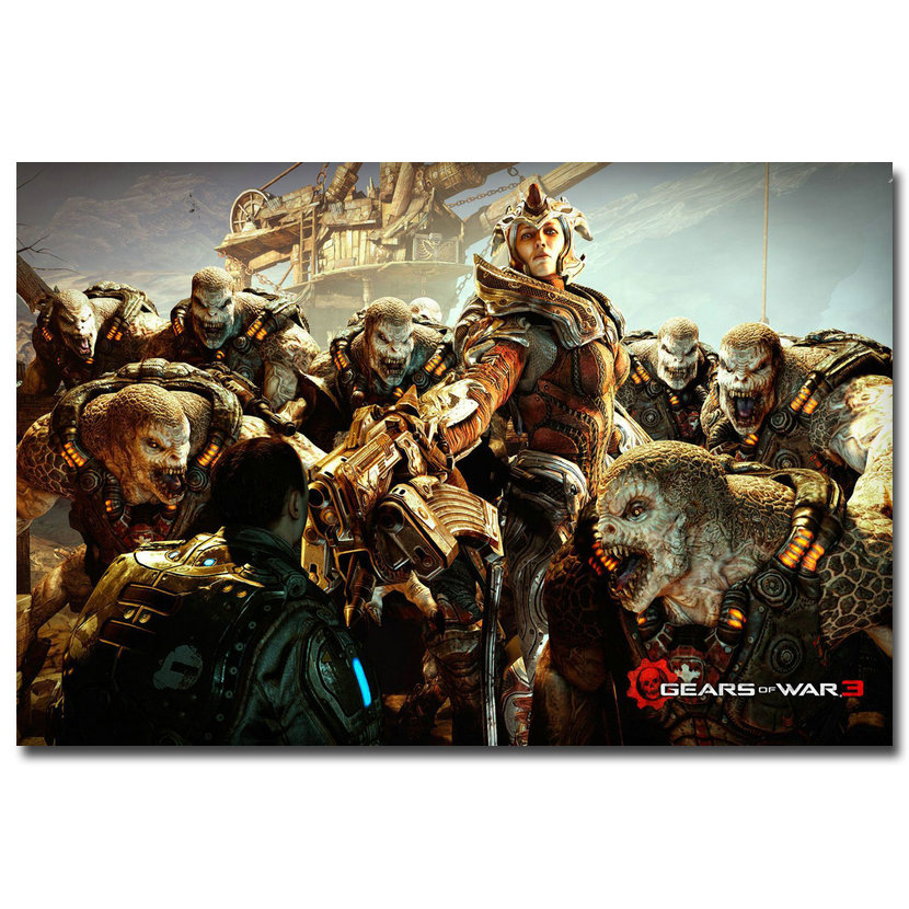 Gears of War 3 4 Art Silk Fabric Poster Print 13x20 24x36inch Hot Game JD Fenix Picture for Living Room Wall Decoration 019